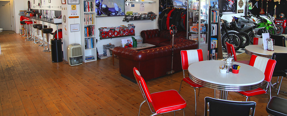 Inside the Chequered Flag Cafe Liskeard